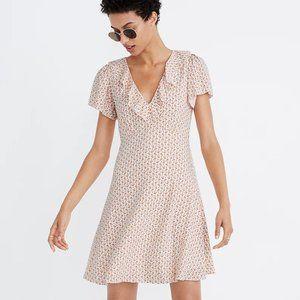 NWT Madewell Ruffle Flutter-Sleeve Dress